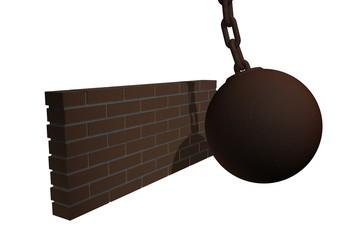 Sloop muur met sloopkogel