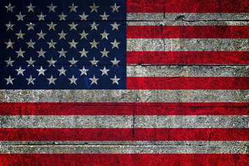 USA flag on grunge background