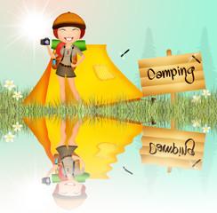 girl in camping