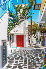 Little shopping street in Mykonos old town