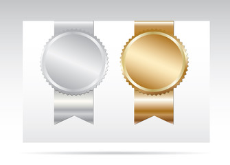 Gold and silver  blank awards.