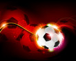 Burning ball on red  background