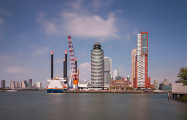 Rotterdam skyline with ships
