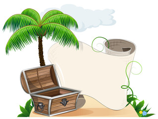 Tropical island, palm trees and pirate chest
