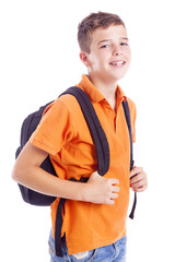 Portrait of a school boy with backpack, isolated on white backgr