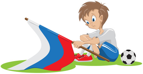 Sad football fan russian flag dropped