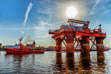 Towing Oil Rig in the Port of Gdansk, Poland.