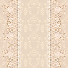 Template greeting or invitation card with delicate lace fabric