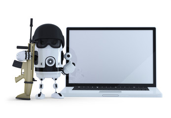 Robot wih blank screen laptop. Isolated. Clipping path