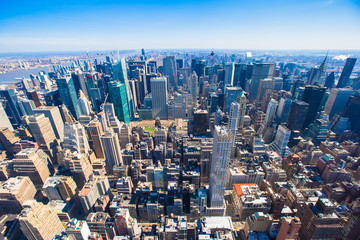 New York City Manhattan panorama aerial view with skyline at