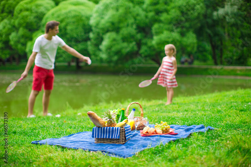 Happy family picnicking in the park - 66573390