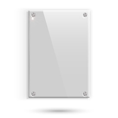 Glass plate with shadow on white background