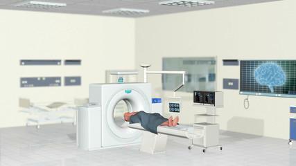MRI Scan, Hospital Room, Camera panning, Alpha