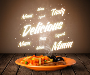 Food plate with delicious and tasty glowing writings
