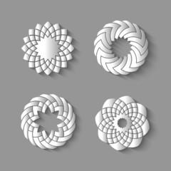 Vector set of paper swirl-elements for design