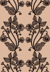Seamless lace pattern. Black fishnet flowers on a pink