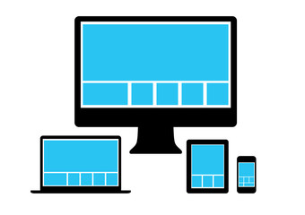 Web design in simple icons electronic devices