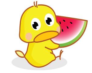 cute cartoon chicks eating watermelon