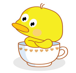cute cartoon chicks pose in the cup
