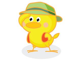 cute cartoon chick wearing a hat