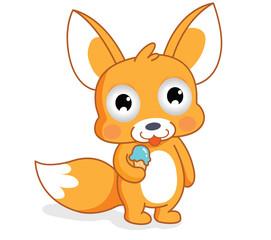 cartoon squirrel eating an ice cream