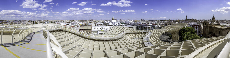Seville. Panoramic view in the top of Metropol Parasol Plaza