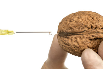 Walnut GMO. Walnut and syringe