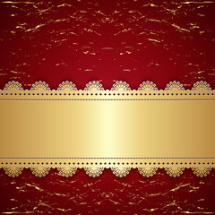 Vintage gold with a red background.