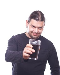 Dude with beer glass clink