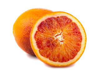 Half and full bloody red oranges