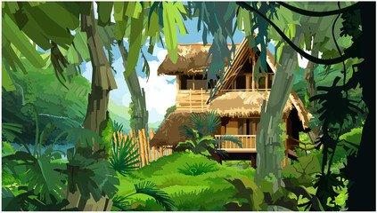 hut in the rainforest