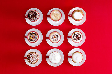 Latte art on a red background