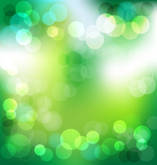 Green elegant abstract background with bokeh lights