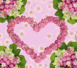 Lovely floral arrangement in the shape of heart from pink roses