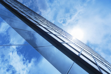 Details of modern building with sky background