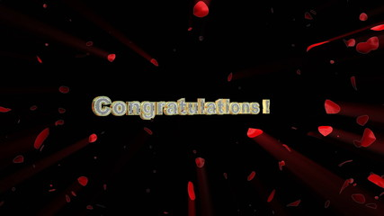 Congratulations Title and rose heart exploding