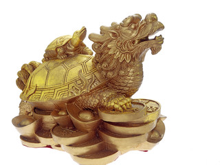 dragon turtle with baby turtle on its back