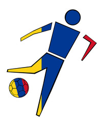 Isolated Clip Art Football Player With Colombia Flag's Colors