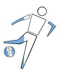 Isolated Clip Art Football Player With Argentina Flag's Colors