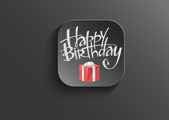 Happy Birthday- On black vector button