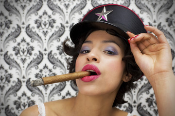 sexy woman with cigar
