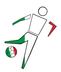 Isolated Clip Art Football Player With Italy Flag's Colors