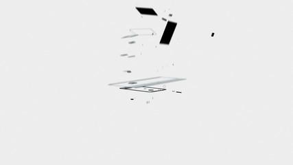 Mobile dissolve into Laptop against white