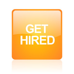 get hired computer icon on white background
