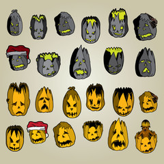 Set of dark and light pumpkin heads