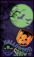 Old school, fully editable vector, Halloween poster