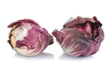Red Cabbage Radicchio Rosso head isolated on white