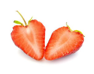 Half of strawberry isolated on white background.