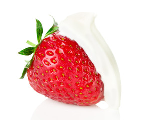 strawberries with cream  on the white background