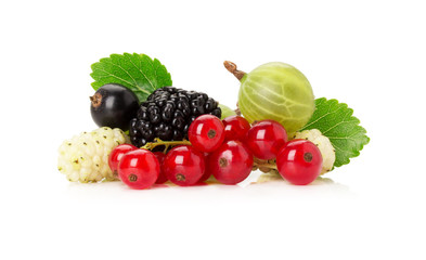 mix of berries on the white background